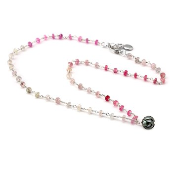 Black Pearl & Pink Sapphire Necklace-349215