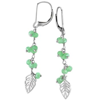 Green Chalcedony Leaf Earrings-210-461