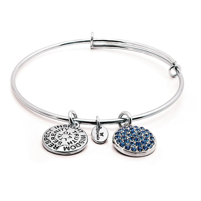 SEPTEMBER Sapphire Crystal Bangle - Chrysalis Good Fortune Collection