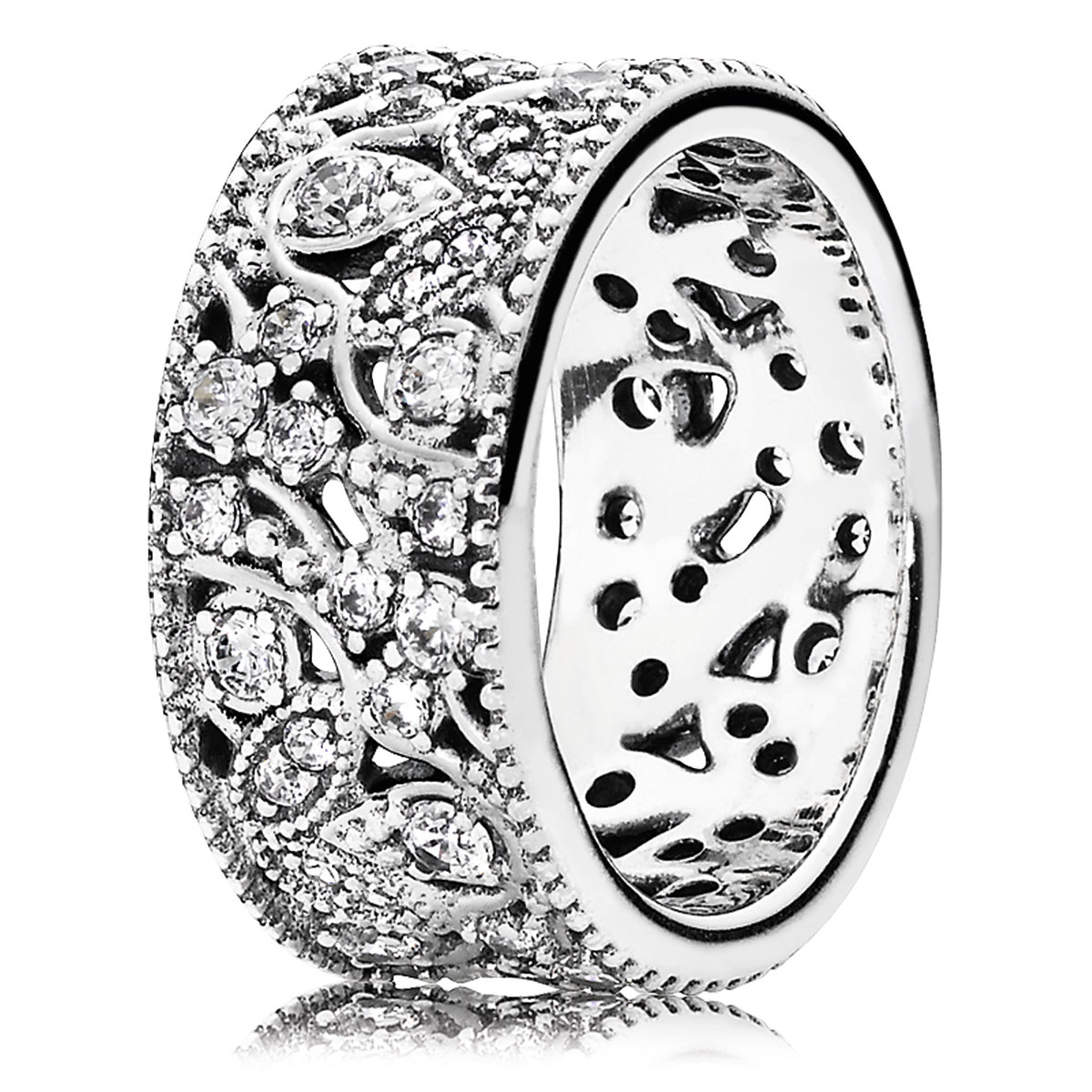 PANDORA Shimmering Leaves with Clear CZ Ring