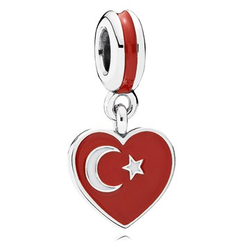 802-3021-PANDORA Turkey Heart Flag with Enamel Dangle