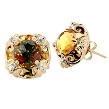 Galatea Davinci Cut Citrine Post Earrings-342099