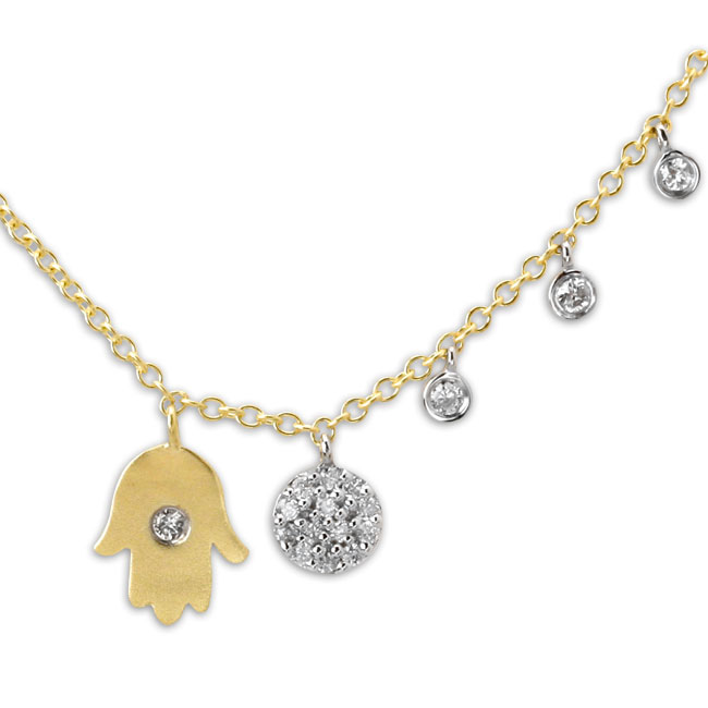 338573-Small Hamsa with Yellow Gold Necklace