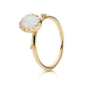 PANDORA 14K Soft Sweetness with White Opal Stackable Ring