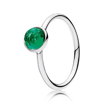 PANDORA May Droplet with Royal-Green Crystal Ring