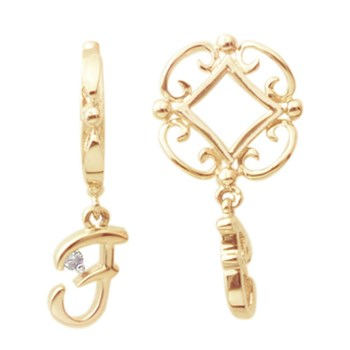 Storywheels Initials 'F' Dangle with Diamond 14K Gold Wheel - ONLY 1 LEFT!-267656