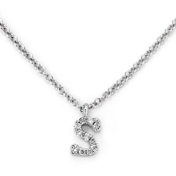 "Small Diamond ""S"" Necklace-342126"
