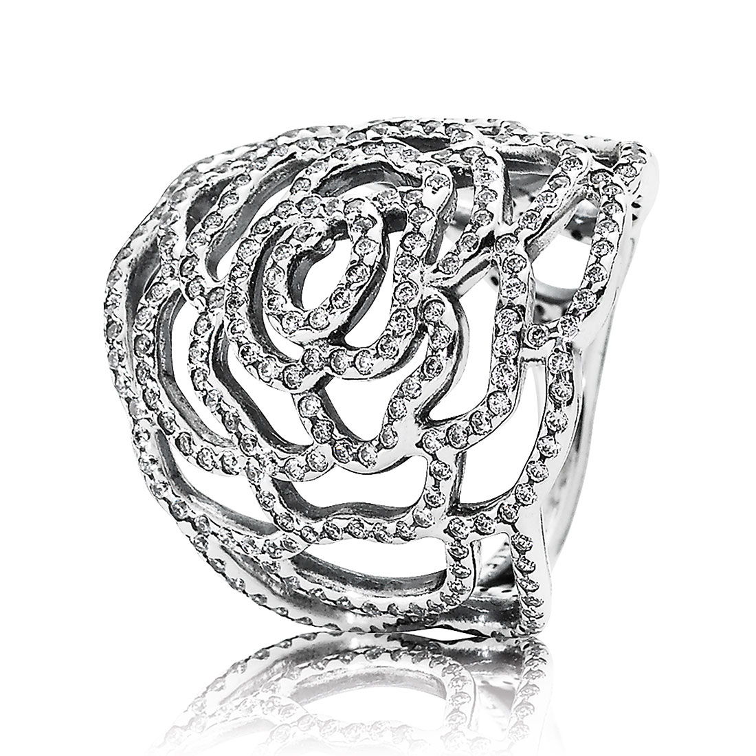 PANDORA Shimmering Rose with Clear CZ Ring