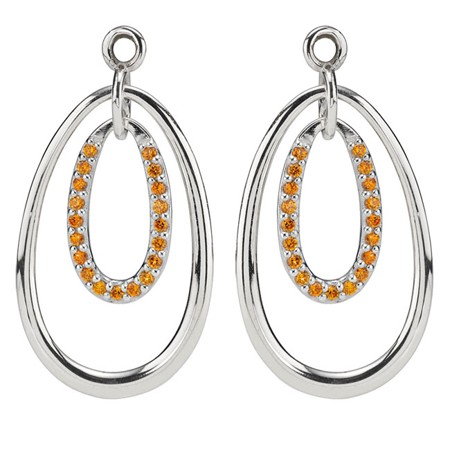 333086-PANDORA Double Drop with Orange CZ Compose Earring Charms RETIRED LIMITED QUANTITIES!