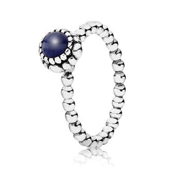 PANDORA Lapis September Birthday Bloom Stackable Ring