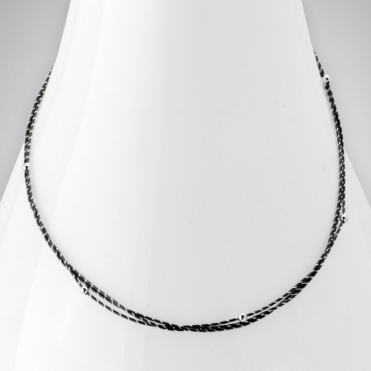343594-Two-Tone Silver and Black Rhodium Necklace