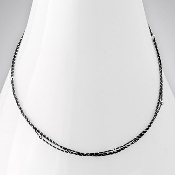 Two-Tone Silver and Black Rhodium Necklace-343594