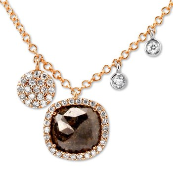 Raw Cut Diamond with Rose Gold Necklace-338568