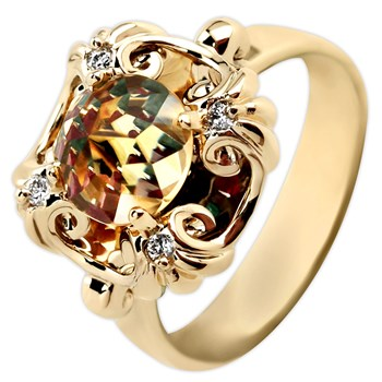 342100-Galatea Davinci Cut Citrine Ring