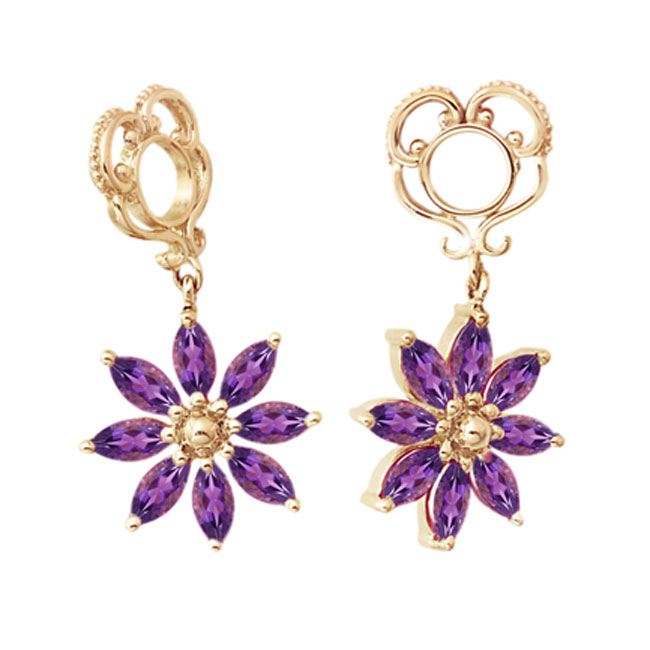 271110-Storywheels Amethyst Poinsettia Dangle 14K Gold Wheel RETIRED LIMITED QUANTITES!