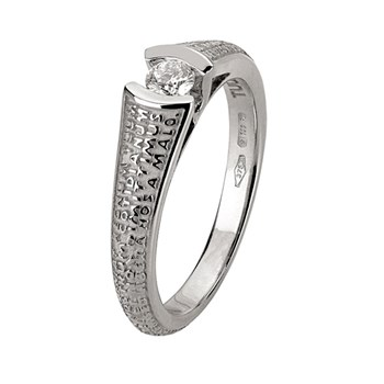 Our Father White Gold 0,15 Ct Diamond Ring