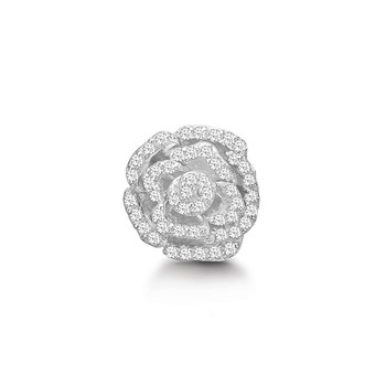 STORY by Kranz & Ziegler Sterling Silver Crystal Rose Button