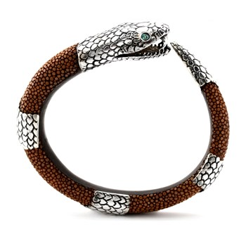341783-Tan Stingray and SS Snake Bracelet