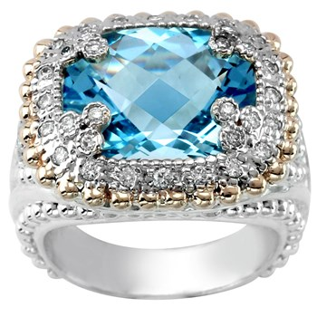 Blue Topaz & Diamond Ring-341279