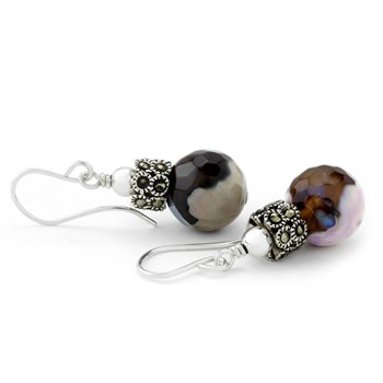 210-706-Agate & Marcasite Earrings