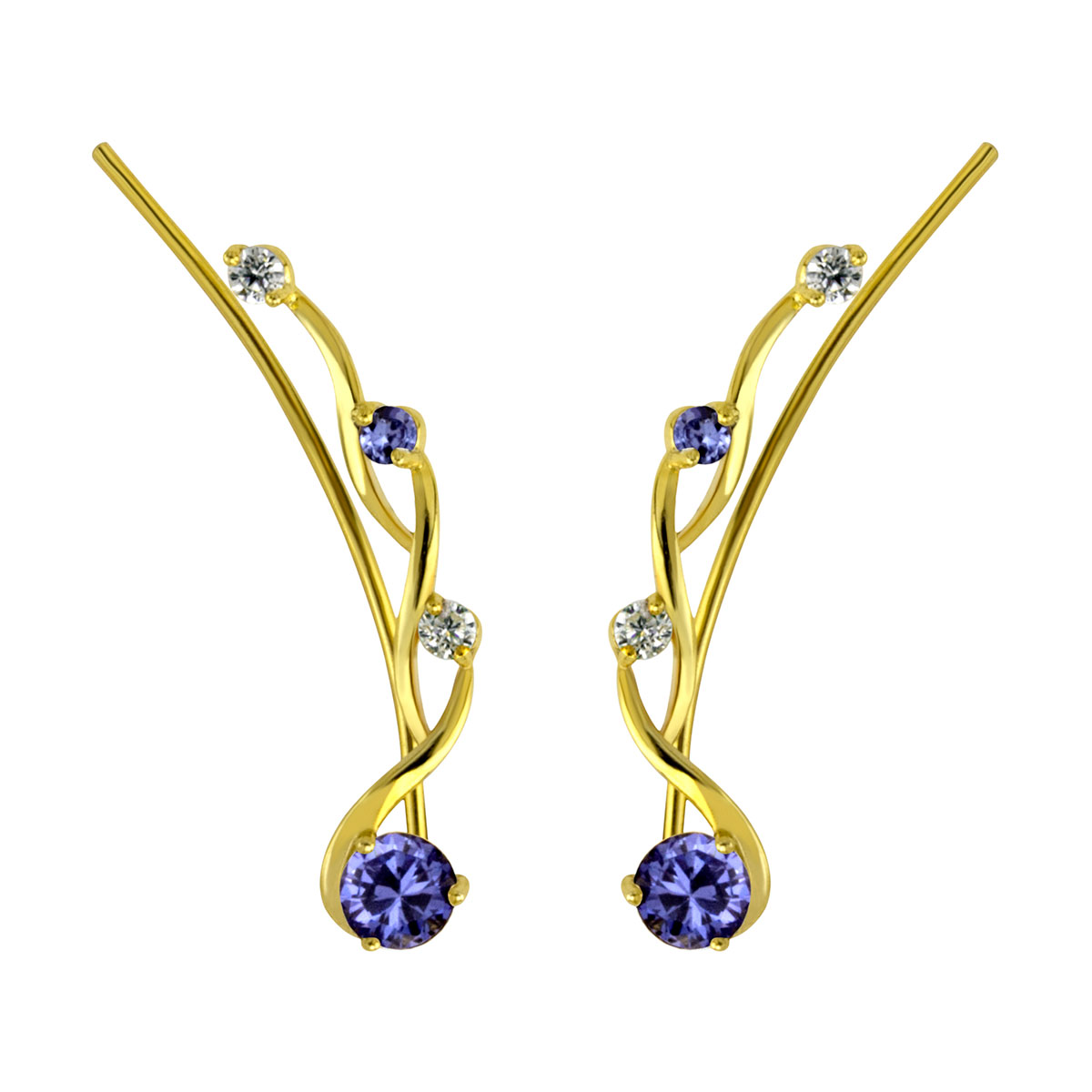 Twisted Tanzanite Gold Ear Climber