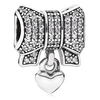 802-3139-PANDORA Heart & Bow with Clear CZ Dangle