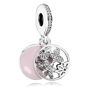 PANDORA Springtime with Soft Pink Enamel & Clear CZ Dangle