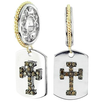 Storywheels Brown Diamonds Cross Dog Tag with Sterling Silver/14K Gold Wheel ONLY 3 AVAILABLE!-331630