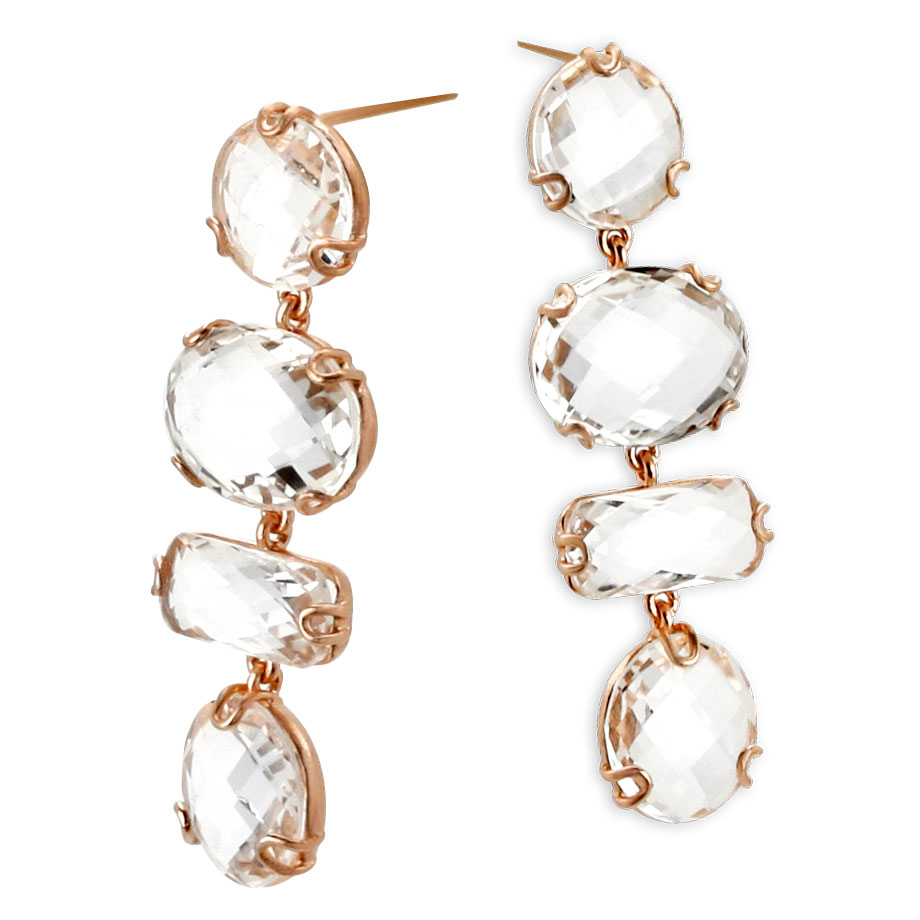 341858-Rose Gold White Topaz Earrings