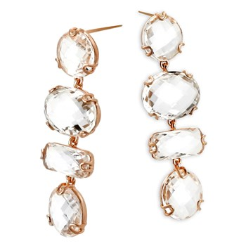 Rose Gold White Topaz Earrings-341858