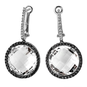 White Topaz & Diamond Earrings-339568