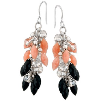 334211-Peruvian Opal & Black Tourmaline Earrings