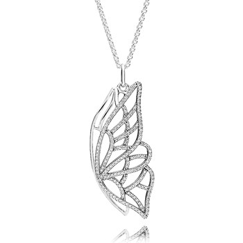PANDORA New Beginning Butterfly with Clear CZ Necklace-801-657