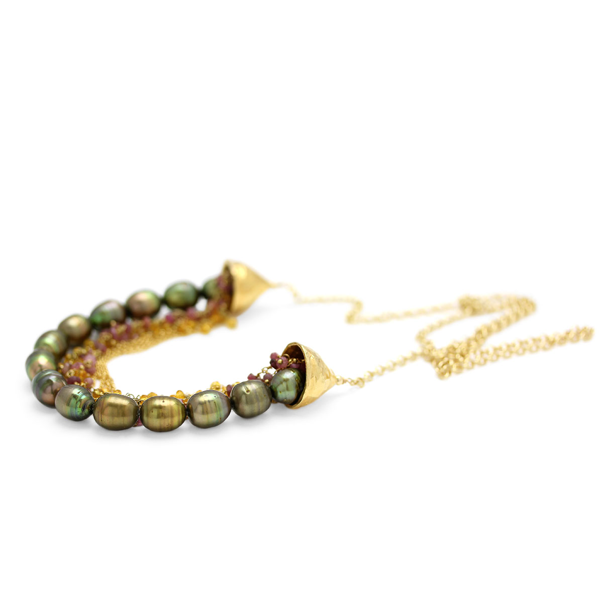 Green Pearl Necklace-235-589
