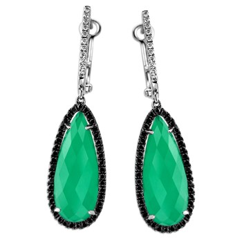 339565-Green Agate & Diamond Earrings