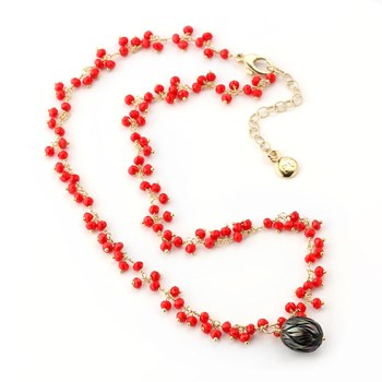 Black Pearl & Red Quartz Necklace-348527