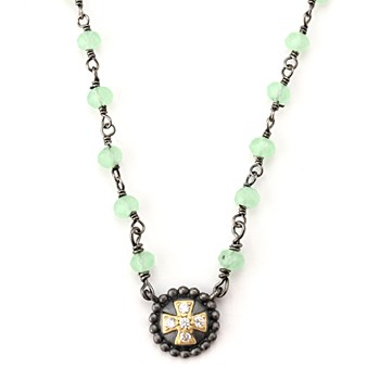 Green Chalcedony Cross Necklace-347150
