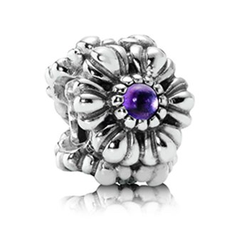 337210-PANDORA Birthday Bloom February with Amethyst Charm RETIRED