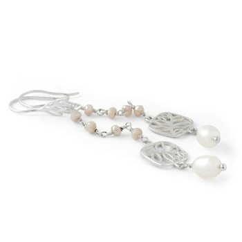 210-692-Pink Chalcedony & Pearl Earrings