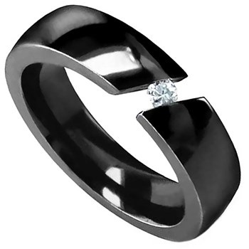 Edward Mirell Men's Tension Band Black Titanium & Diamond Ring