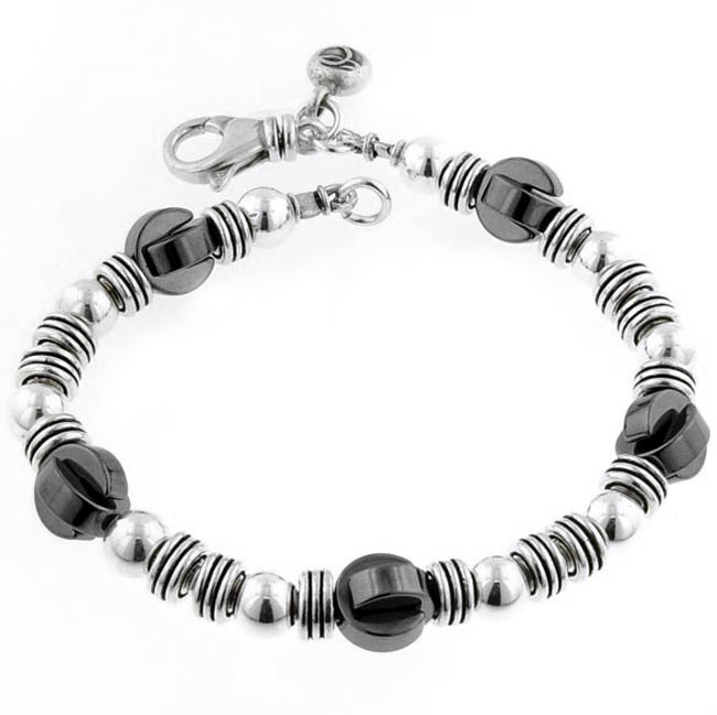 206785-Sterling Silver and Hematite Bracelet