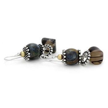 210-00765-Pietersite & Smokey Quartz Earrings