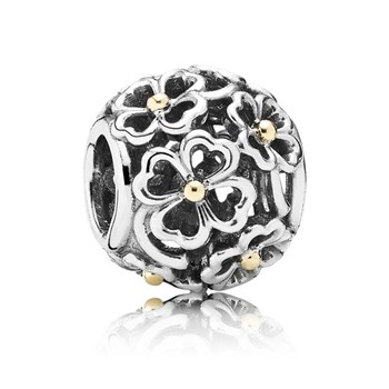 PANDORA Evening Floral with 14K Openwork Charm RETIRED