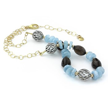 Smokey Quartz & Aquamarine Necklace-235-661