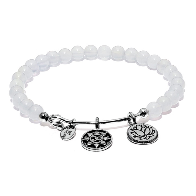 345084-White Chalcedony MANTRA Bangle - Chrysalis Guardian Collection