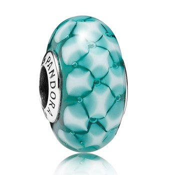 347061-PANDORA Teal Lattice Murano Glass