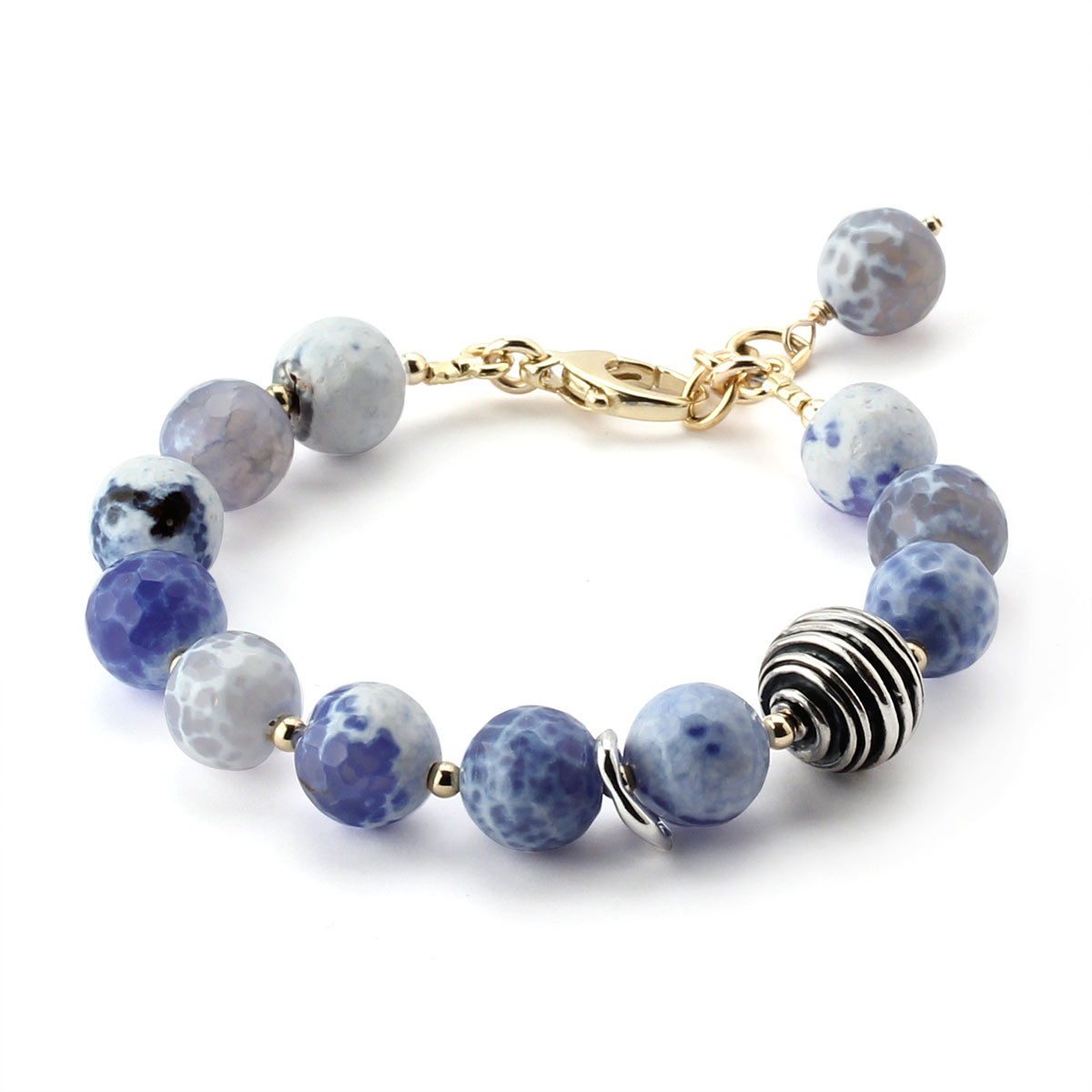 348638-Lollies Blue and White Glass Bracelet