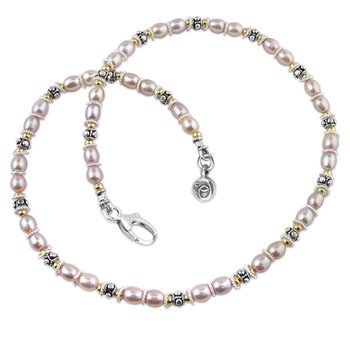 175449-Pink Pearl Breast Cancer Necklace