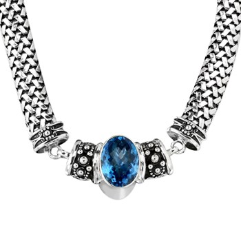 Blue Topaz Chunky Necklace-342793
