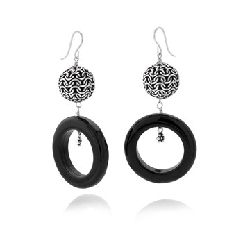 Black Agate Circle Earrings